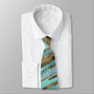 Aquamarine und BronzeGlitzershine-Hals-Krawatte Bedruckte Krawatten