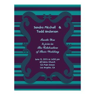 Aquamarine und dunkelblaue gestreifte Hochzeit 21,6 X 27,9 Cm Flyer