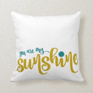 Aquamarine und gelbe Typografie mein Sonnenschein Kissen