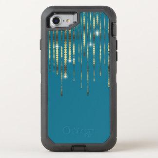 Aquamarine und Goldmünze-Schein drapieren OtterBox Defender iPhone 8/7 Hülle
