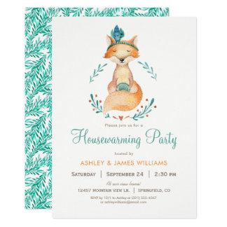 Aquamarine und orange Foxhousewarming-Party 12,7 X 17,8 Cm Einladungskarte