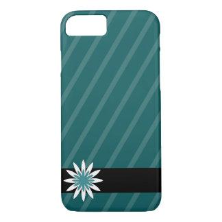 Aquamarine und weiße Blume stripes iPhone 8/7 Hülle