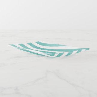 Aquamarine und weiße Streifen Dekoschale