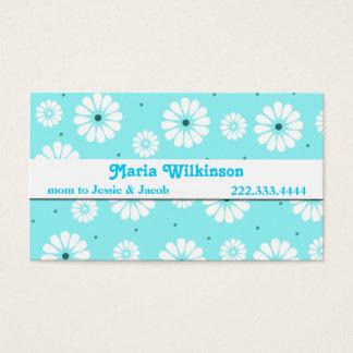 Aquamarine-und weißes Gänseblümchen-Mama-Karte Visitenkarte