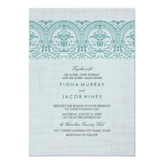Aquamarine Vintage Damast-Hochzeits-Einladung Karte