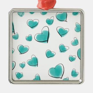 Aquamarine Watercolor-Herz-Polka-Punkt-Skizze Quadratisches Silberfarbenes Ornament