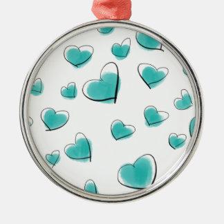 Aquamarine Watercolor-Herz-Polka-Punkt-Skizze Silbernes Ornament