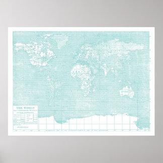 Aquamarine WeltVintage Karte Poster