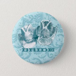 Aquamarine-Western-Vintage Hochzeiten Runder Button 5,7 Cm