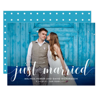 Aquamarine Whimsy | gerade verheiratete 12,7 X 17,8 Cm Einladungskarte