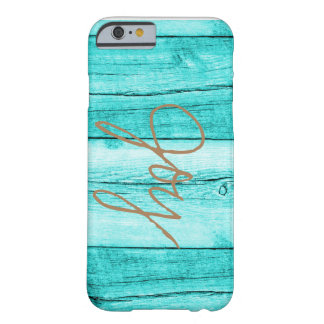 Aquamarine Woodgrain-Freude iPhone 6/6s Abdeckung Barely There iPhone 6 Hülle