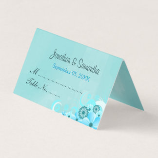 Aquamariner Aqua-blauer Hibiskus-gefaltete Platzkarte