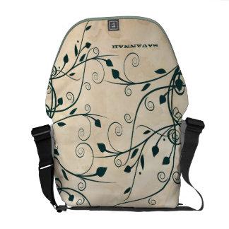 Aquamariner Blatt-Strudel-personalisierter Tee Kurier Tasche
