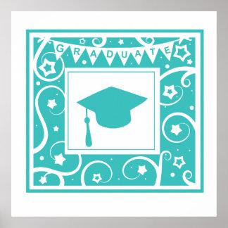Aquamariner Blauabsolventmörser-Bretthut Poster