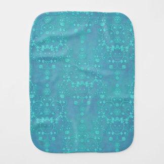 Aquamariner blauer Blumendamast-Entwurf Spucktuch