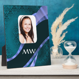Aquamariner blauer Damaststrudel Fotoplatte