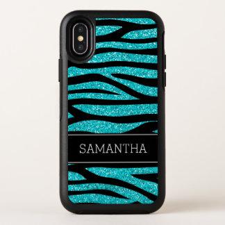 Aquamariner blauer Imitat-GlitzerZebra OtterBox Symmetry iPhone X Hülle