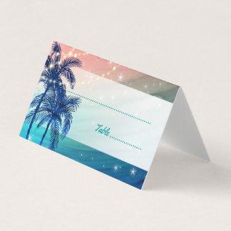 Aquamariner blauer Pfirsich-tropische Platzkarte