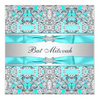 Aquamariner blauer Schläger Mitzvah Personalisierte Einladung
