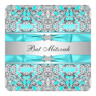 Aquamariner blauer Schläger Mitzvah Quadratische 13,3 Cm Einladungskarte