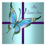 Aquamariner blauer Schmetterling Quinceanera Individuelle Ankündigung