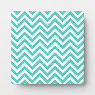 Aquamariner blauer und weißer Zickzack Stripes Fotoplatte