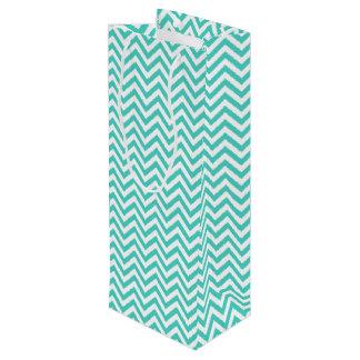 Aquamariner blauer und weißer Zickzack Stripes Geschenktüte Für Weinflaschen