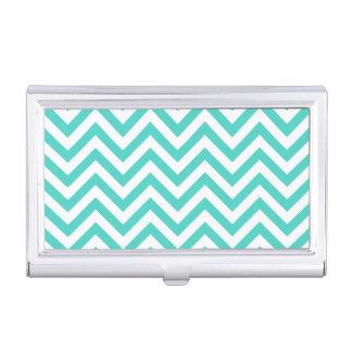 Aquamariner blauer und weißer Zickzack Stripes Visitenkarten Etui