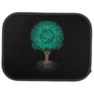 Aquamariner blauer Yoga-OM-Baum des Lebens Autofußmatte