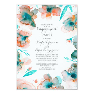 Aquamariner Blumenwatercolor-Vintages 12,7 X 17,8 Cm Einladungskarte