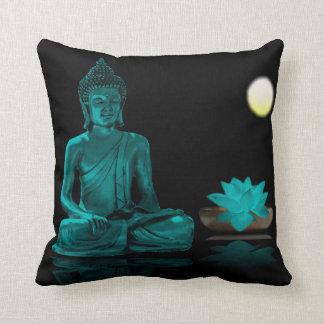 Aquamariner Buddha und Lotos am Nachtthrow-Kissen Kissen