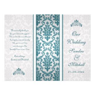 Aquamariner Damast auf silberne Hochzeits-Programm Individuelle Flyer