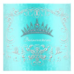 Aquamariner Damast Quinceanera DiamantTiara laden Einladungskarten