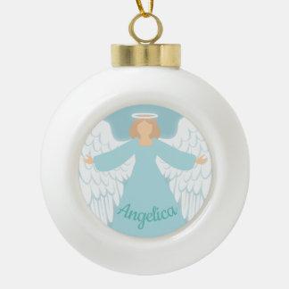 Aquamariner Engel Keramik Kugel-Ornament