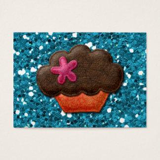 Aquamariner Glitzer und kleiner Kuchen Visitenkarte