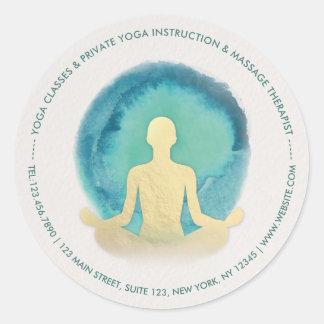 Aquamariner GoldWatercolor YOGA Meditations-Lehrer Runder Aufkleber