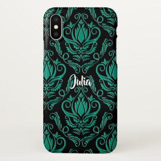 Aquamariner grüner und schwarzer Damast iPhone X iPhone X Hülle