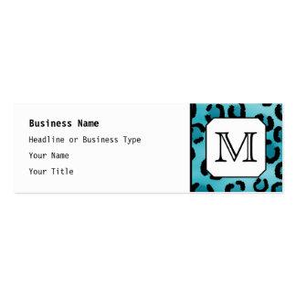 Aquamariner Leopard-Druck, kundenspezifisches Mini-Visitenkarten