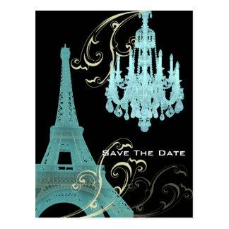 Aquamariner Leuchter Paris, das SaveTheDate Postkarten