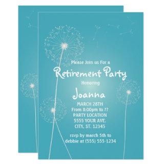 Aquamariner Löwenzahn, Ruhestands-Party 12,7 X 17,8 Cm Einladungskarte