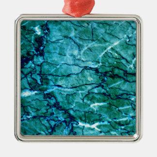 Aquamariner Marmor Quadratisches Silberfarbenes Ornament