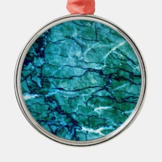 Aquamariner Marmor Rundes Silberfarbenes Ornament