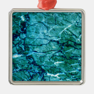 Aquamariner Marmor Silbernes Ornament
