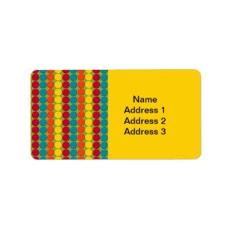 Aquamariner, orange, gelber und roter dot- adressaufkleber