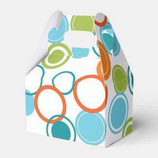 Aquamariner, orange u. grüner geschenkschachtel