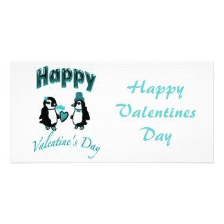 Aquamariner Penguin-glücklicher Valentinstag Bild Karte