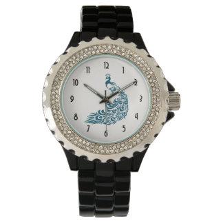 Aquamariner Pfau-mutiger stilvoller Uhr