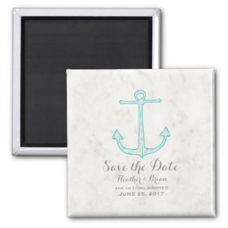 Aquamariner rustikaler Anker Save the Date Quadratischer Magnet