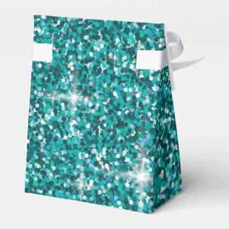 Aquamariner schillernder Glitter Geschenkschachtel