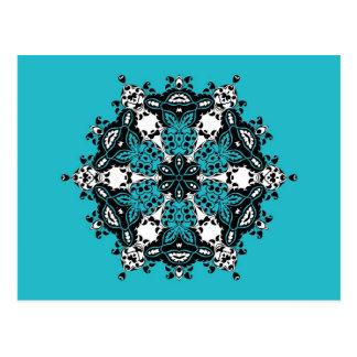 Aquamariner schwarzer u. weißer verzierter Entwurf Postkarte